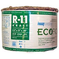 EcoRoll KR91E Kraft Faced Fiberglass Insulation, 15 in W x 40 ft L x 3-1/2 in T, 50 sq-ft, Brown