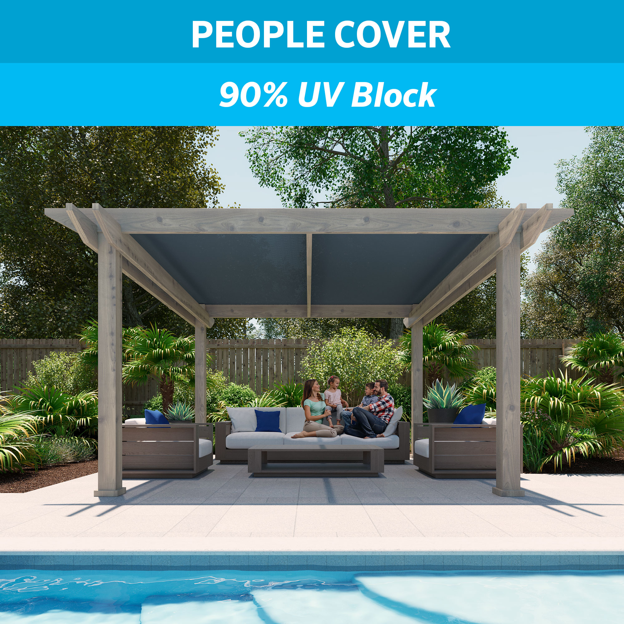 Coolaroo 90% UV Shade Fabric 6'x15' Slate