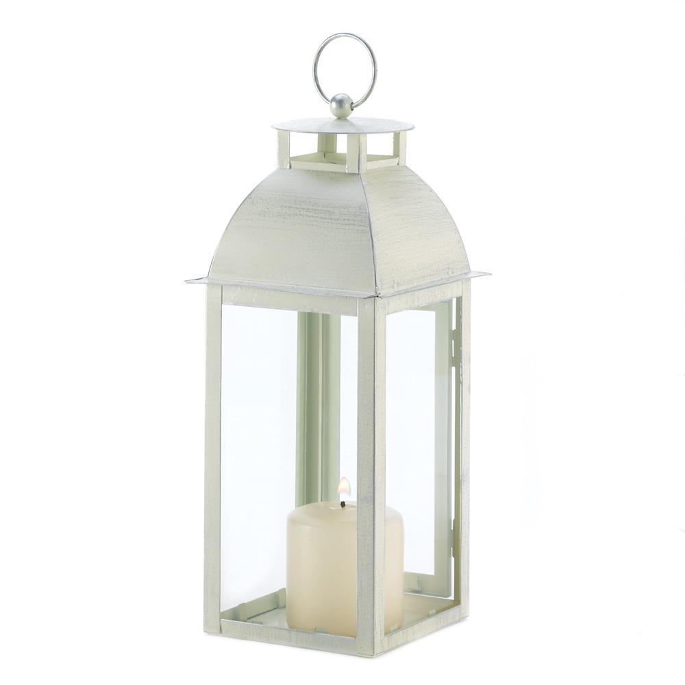 Distressed Ivory Candle Lantern