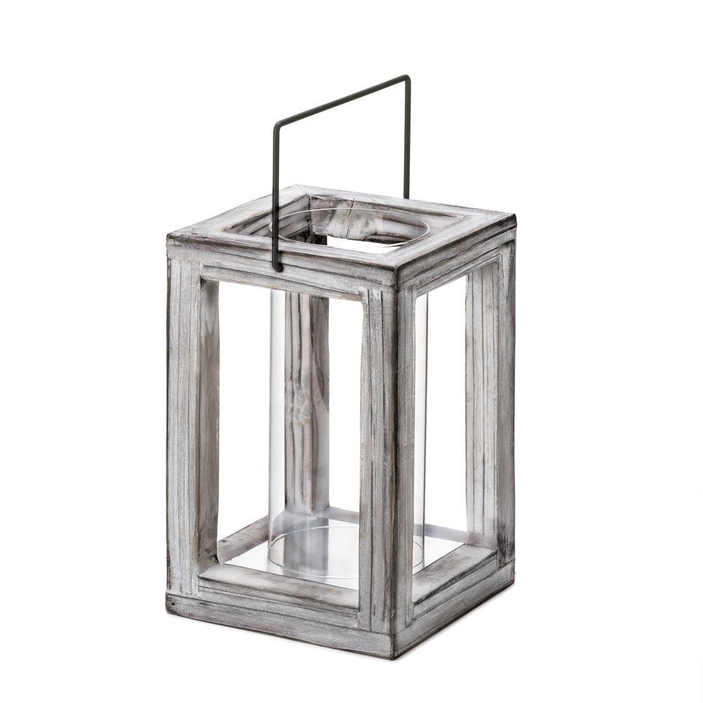 Weathered Garden Wooden Lantern