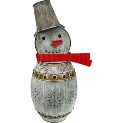 """GT 32""""H Metal Barrel Snowman L"""
