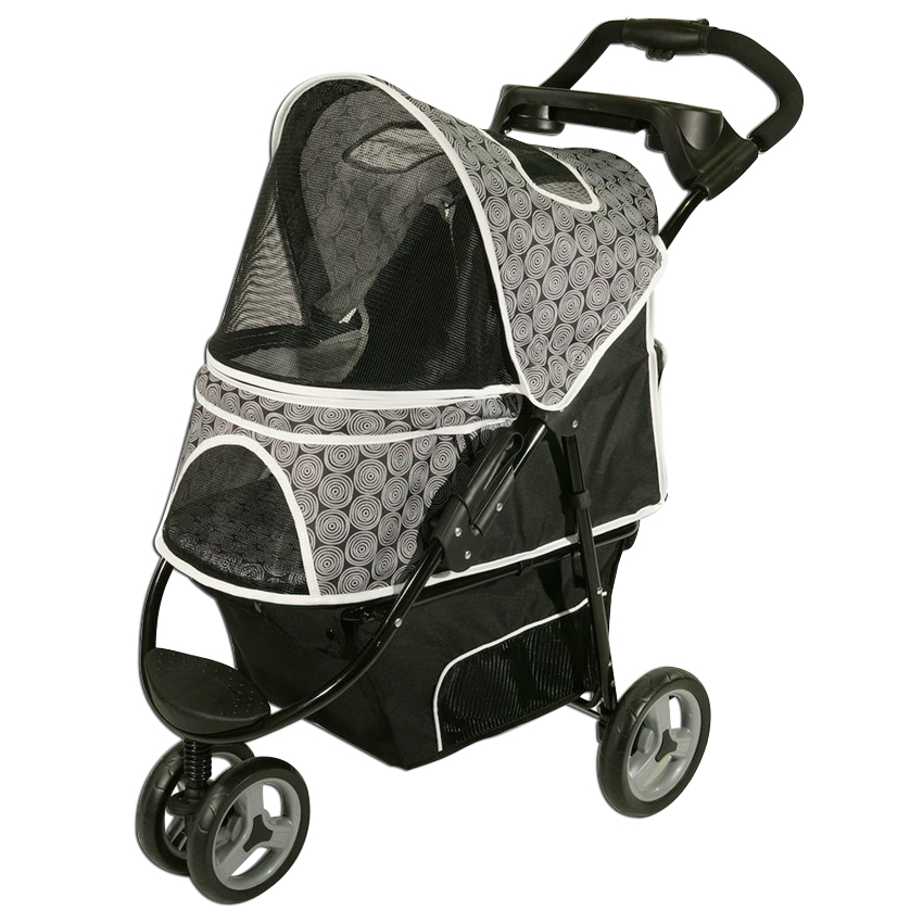 Gen7Pets Promenade 3 Wheeled Foldable Pet Safety Outdoor Travel Stroller - Black Onyx
