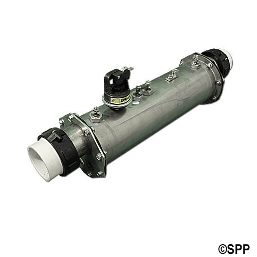 """Heater Assembly, Brett/Pinnacle EM-1000, 11kW, 230V, 18-1/2"""" Long w/Pressure Switch & 1-1/2"""" Tailpieces"""