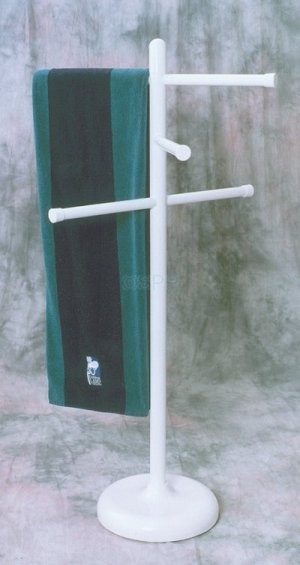"Towel Rack, 50""Tall, 3 Adjustable 24"" Cross Bars, White"