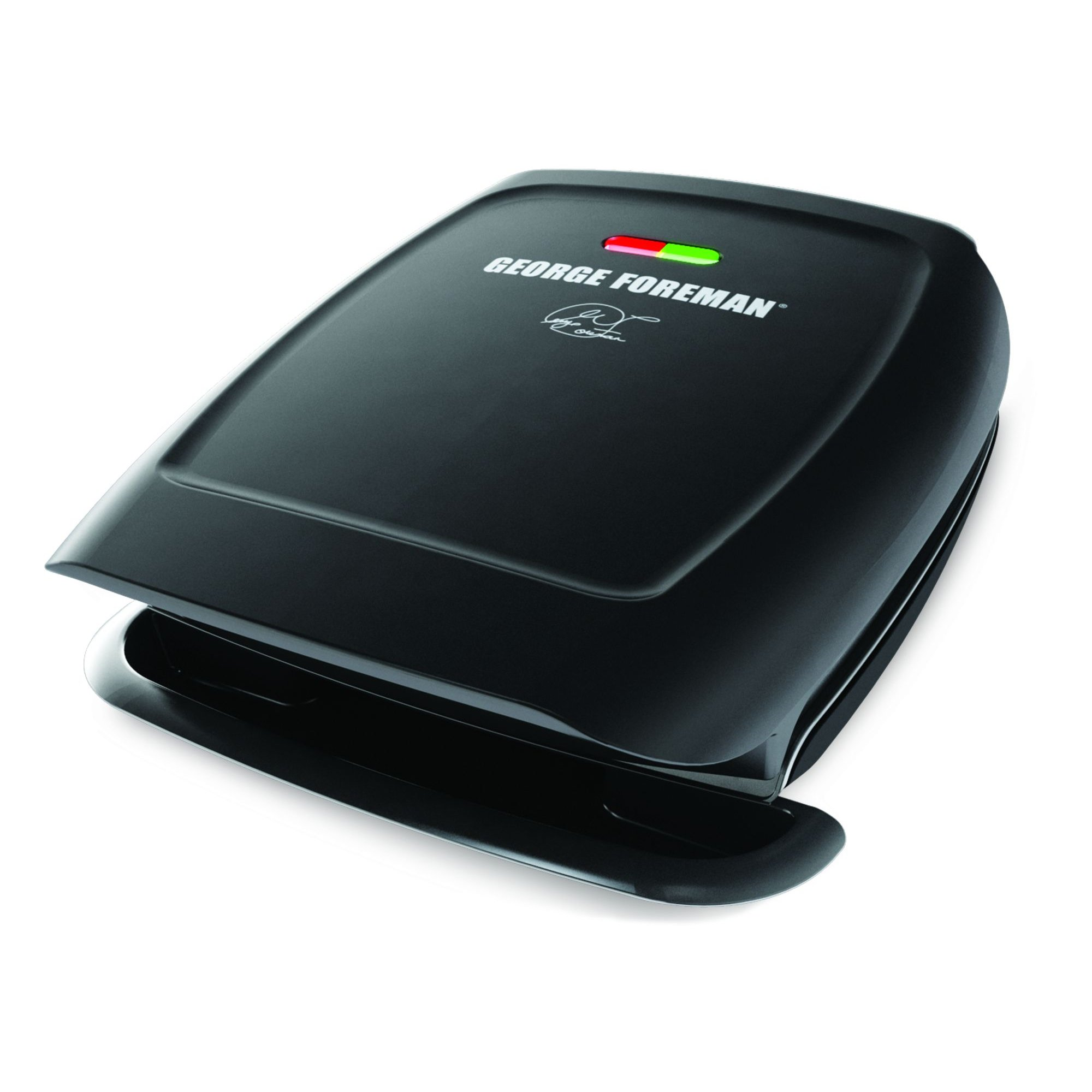 George Foreman 4-Serving Fixed Plate 2-in-1 Grill and Panini Press, Black