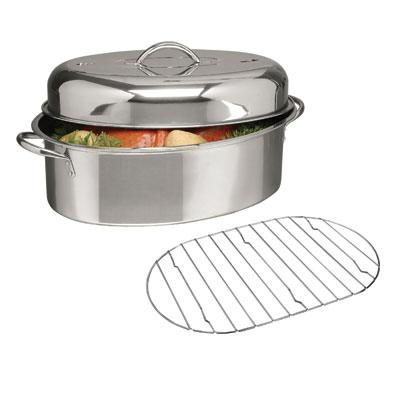 "GH 16"" Oval Roaster w Lid Rack"