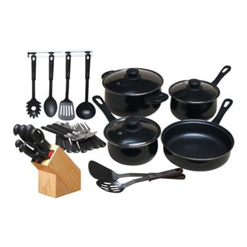 GH 32 Piece Nonstick Cookware Set Black