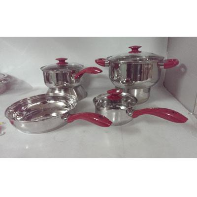 SB Crawford SS Cookware Red7pc