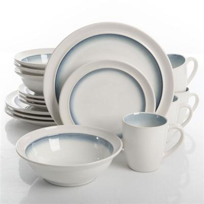 GE Lawson Dinnerware White Teal 16pc