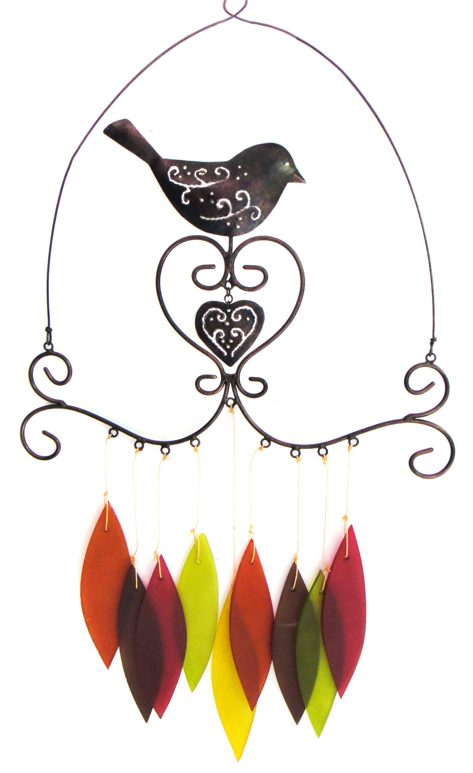 Bird & Heart Handcrafted Chime, Powder-Coated Metal With Sandblasted Glass