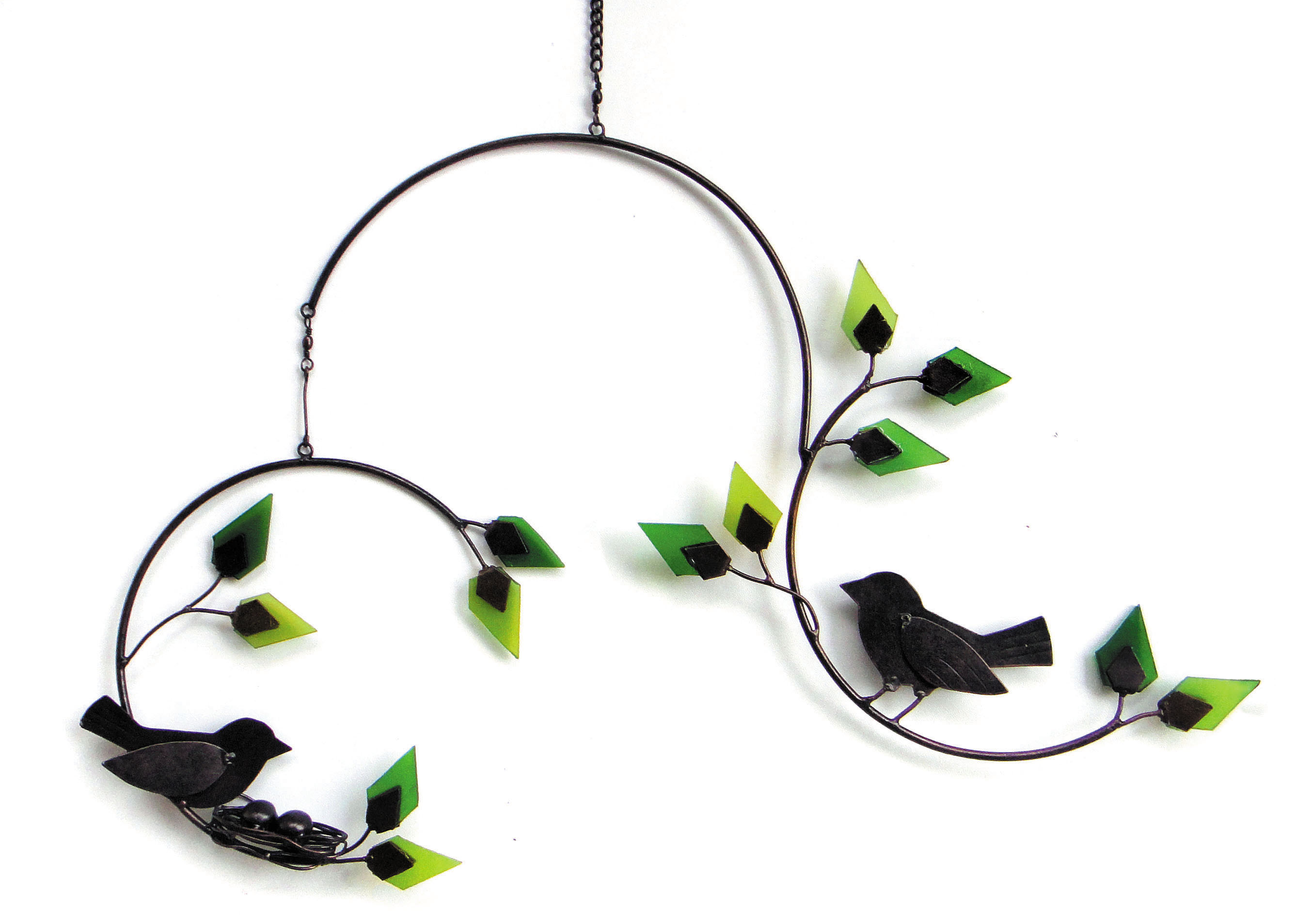 Forest Birds Metal and Glass Mobile