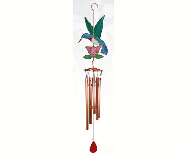 Hummingbird with Pink Flower Large Wind Chime