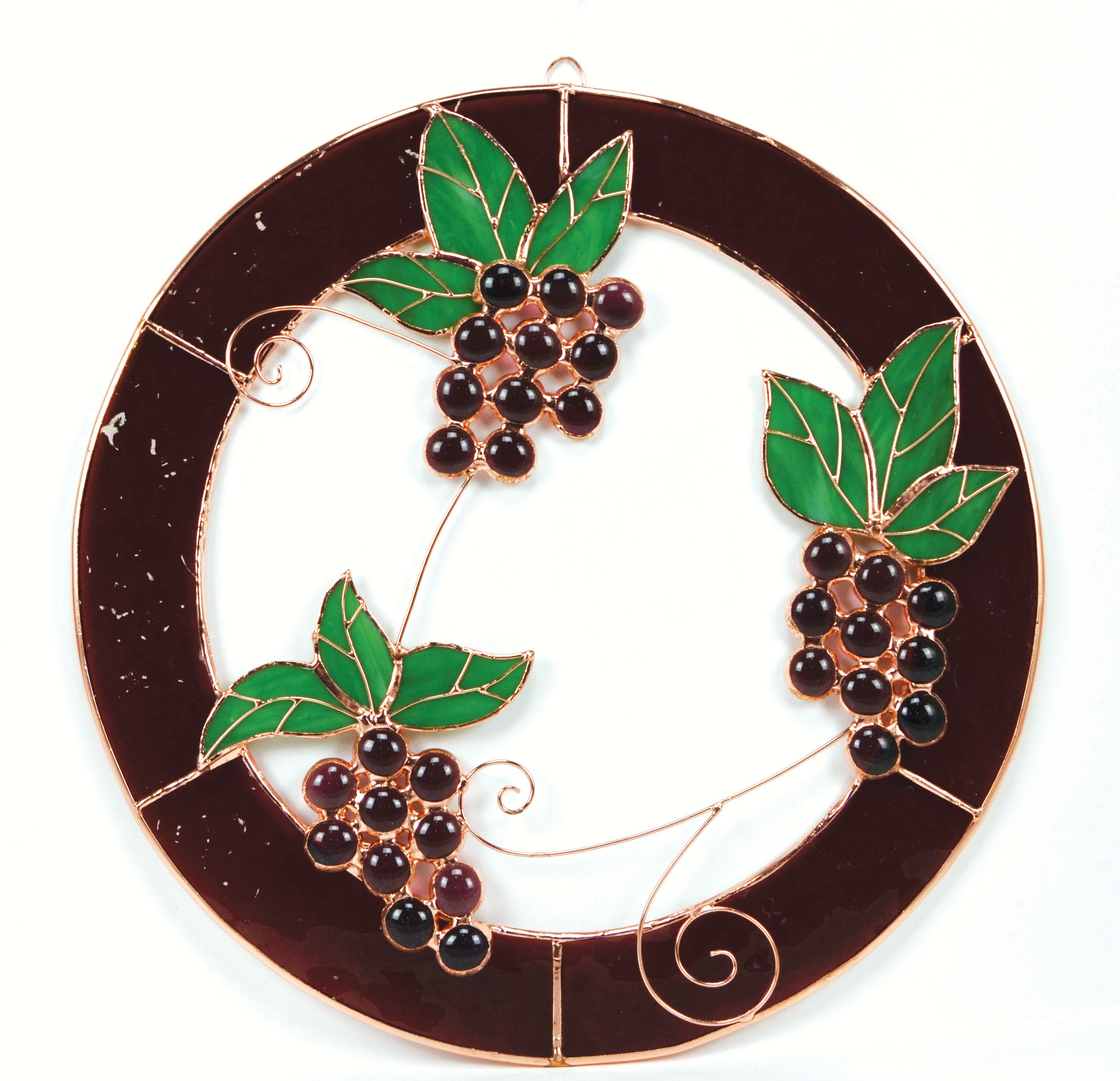 Small Grape Bunch Trifecta Circle Window Panel