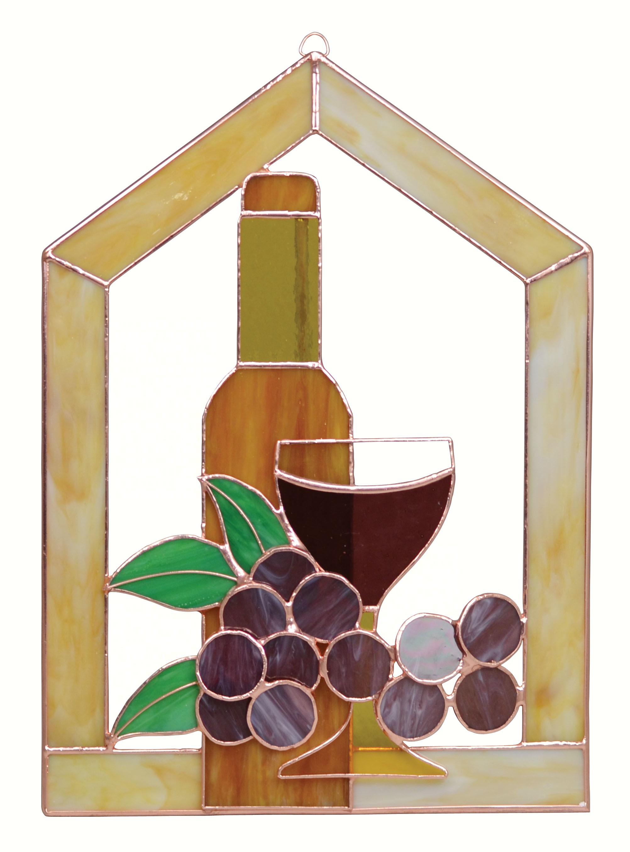 Large Wine Bottle Glass Grapes Scene Steeple Window Panel