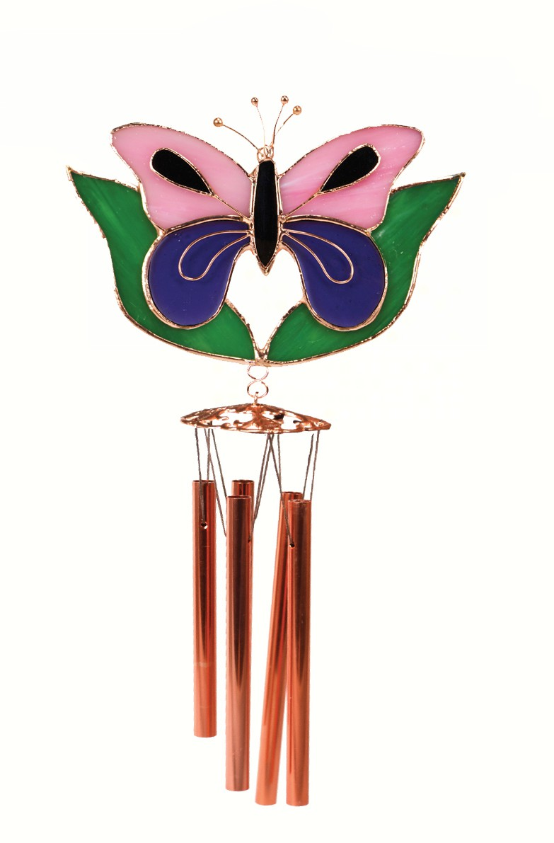 Pink and Purple Butterfly with Leaves Wind Chime