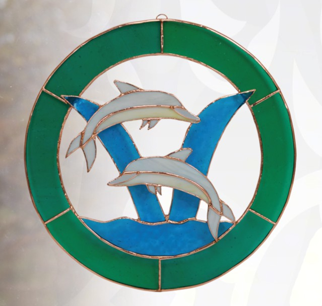 Large Dolphin Circle Window Panel