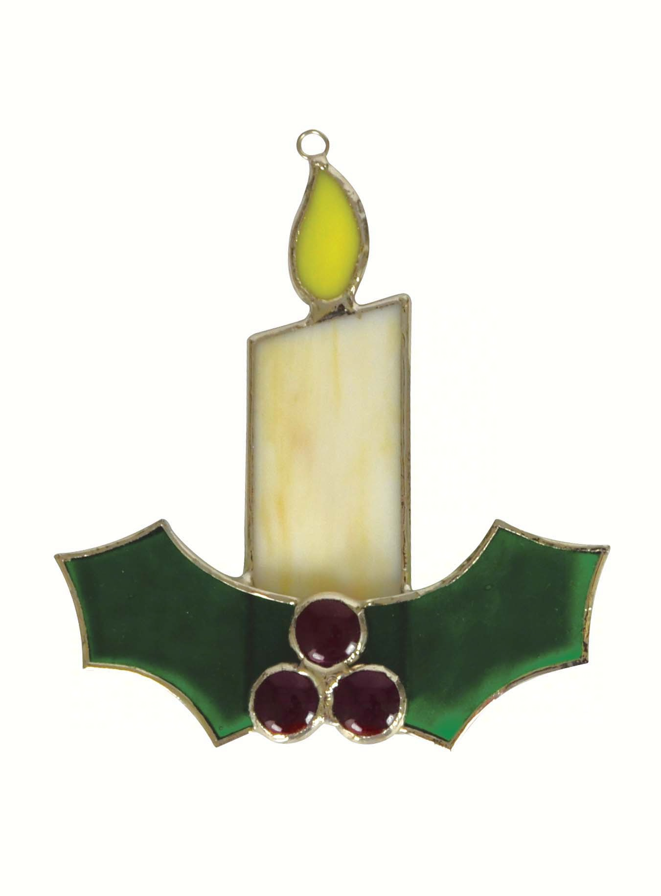 White Candle w/Holly Sun Catcher