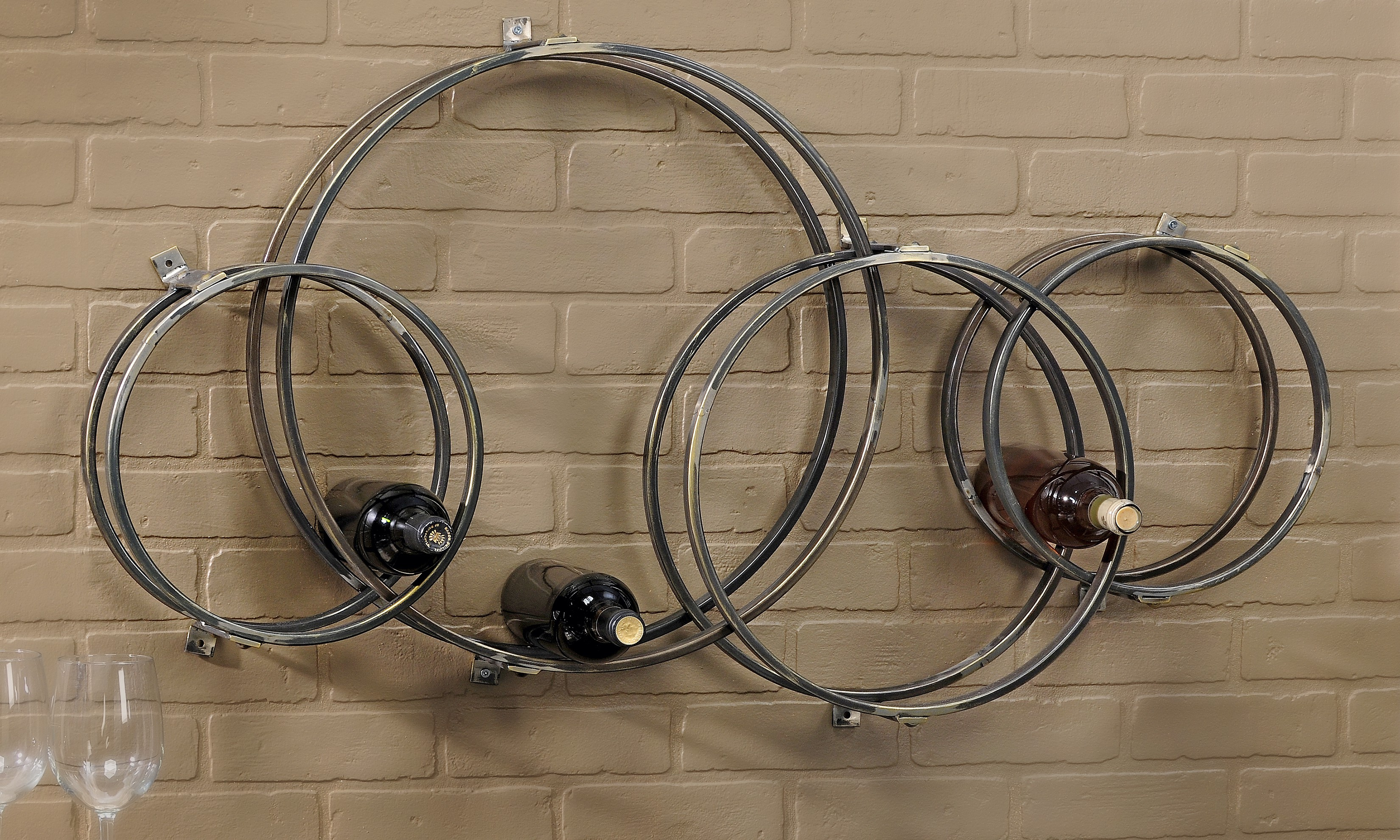 Antiqued Iron Wall Mounted 12-Bottle Wine Rack