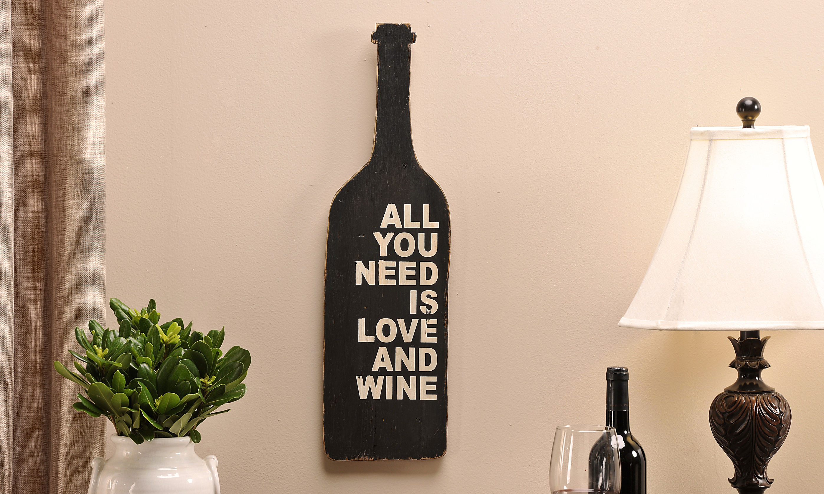Cedar Wood Wine Bottle Design Wall Sign, Love & Wine