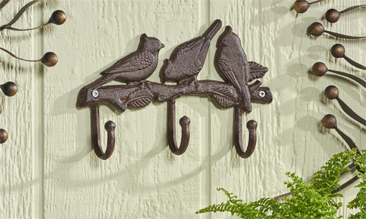 Cast Iron Bird and Branch Design Wall Hook