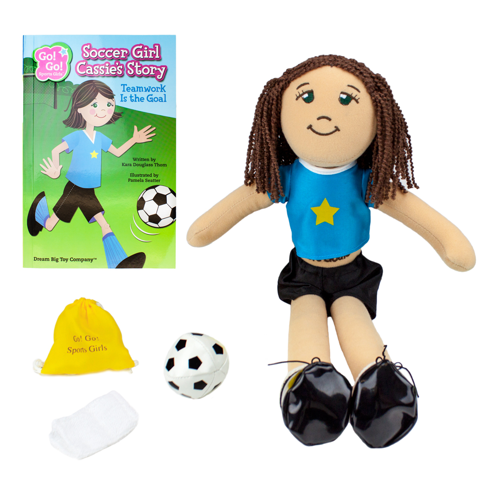 Soccer Girl Cassie Read & Play Doll and Book Set