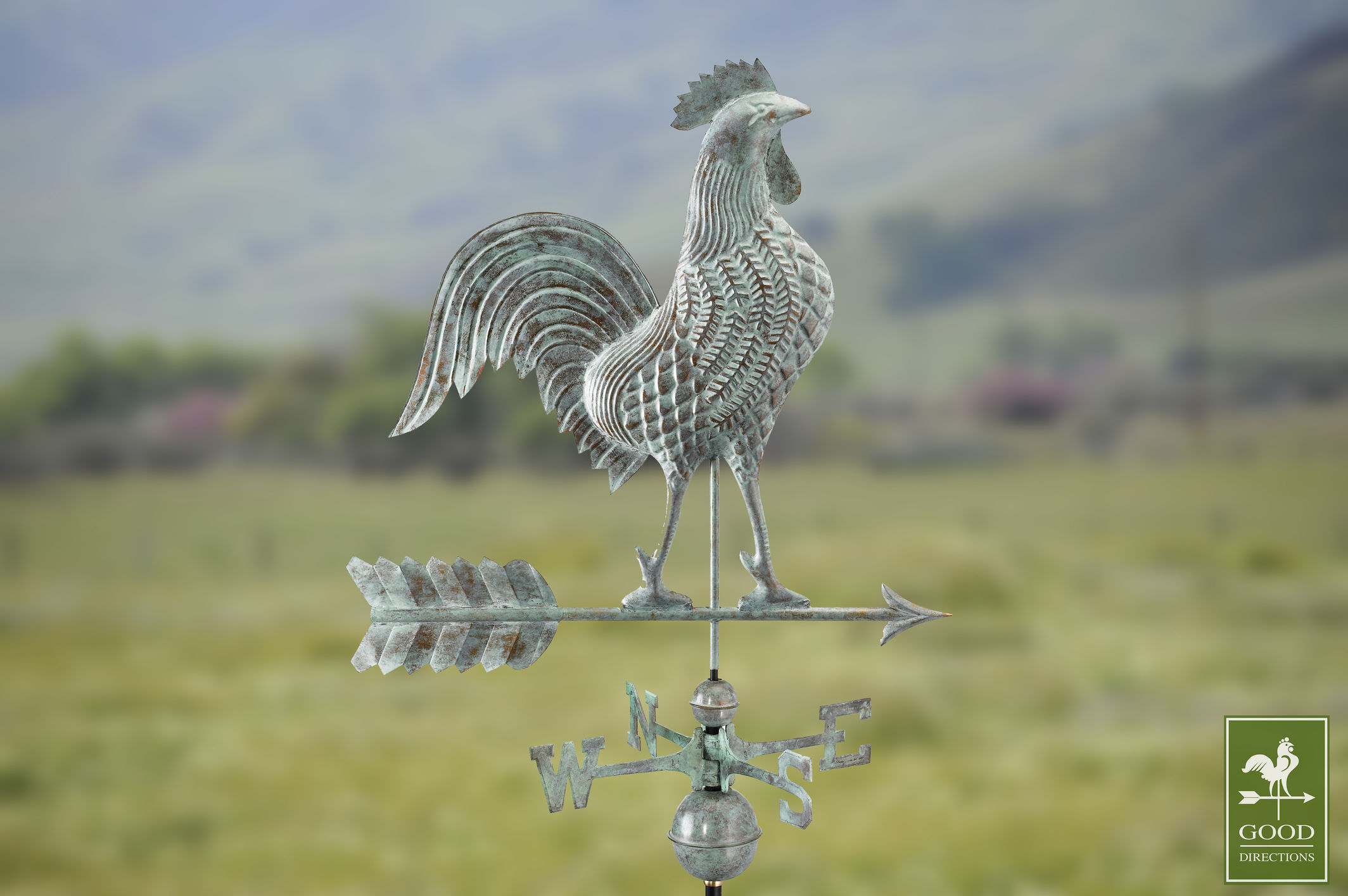 Large Rooster Weathervane Blue Verde Copper + FRT