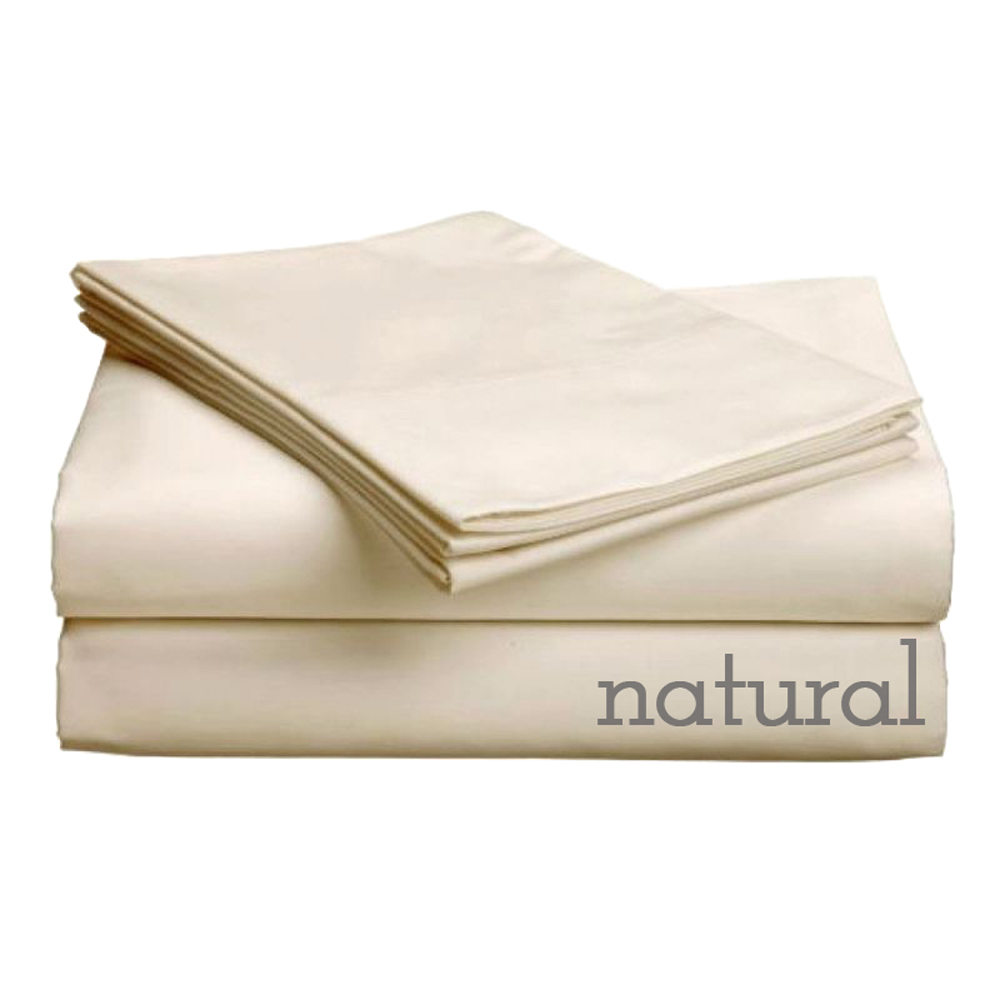 """Pure Collection 300ct 100% Egyptian Certified Organic Cotton Comfort Profile Upto 5"""" Sofa Sleeper SheetSets Queen Plus Natural"""