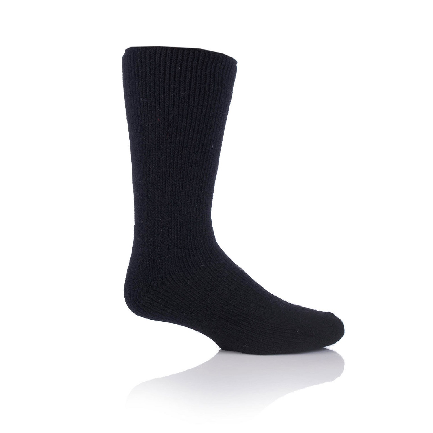 Grabber Heat Holders Mens Wool Crew Sock-Black