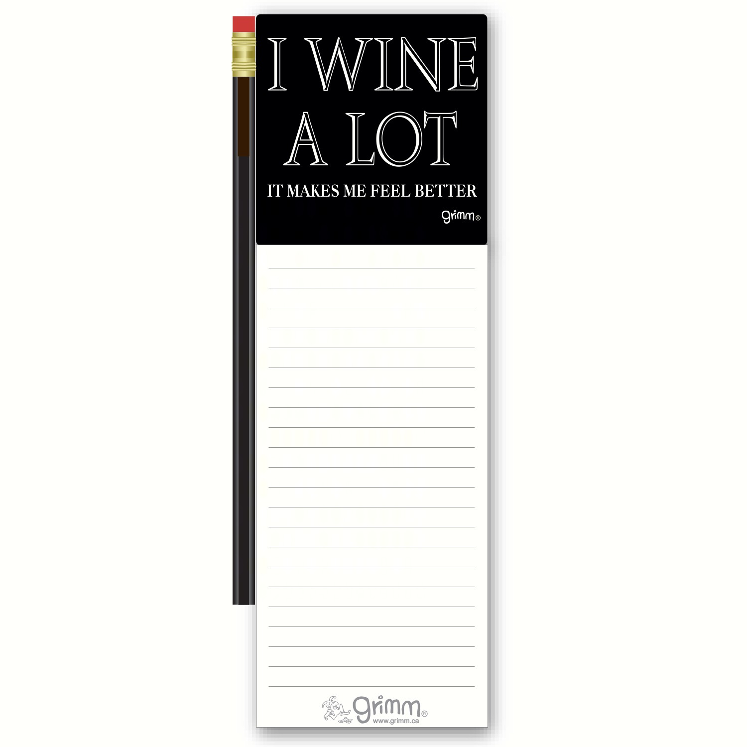 Magnetic Note Pad with Pencil: I Wine Alot It Makes Me Feel Better