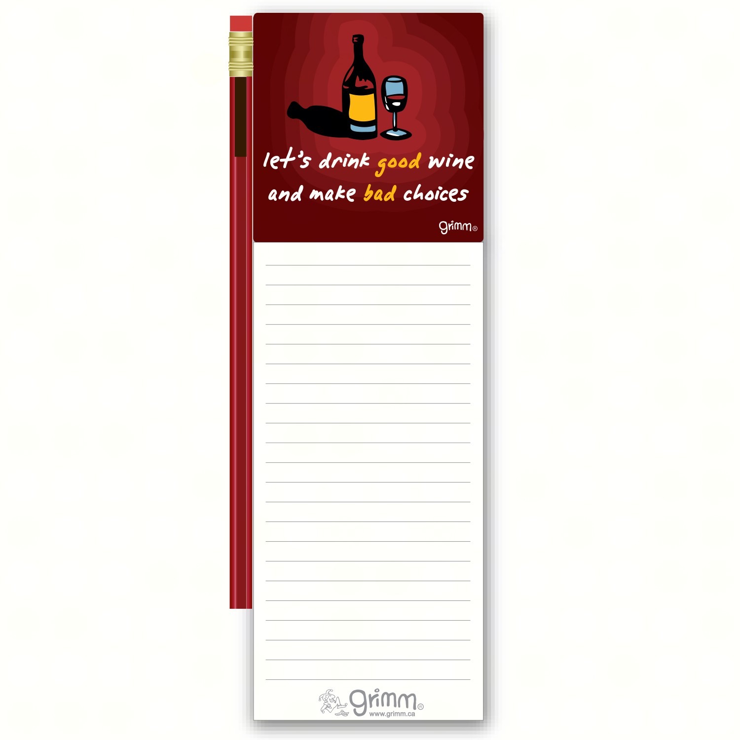 Magnetic Note Pad with Pencil: Let's DGood Wine and Make Bad Choices