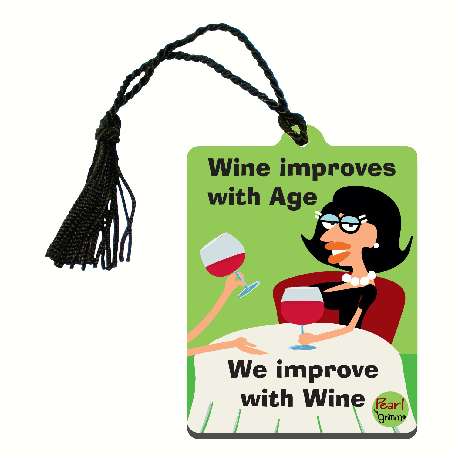Bottle Gift Tag/Magnet, Wine improves with age... We improve with wine