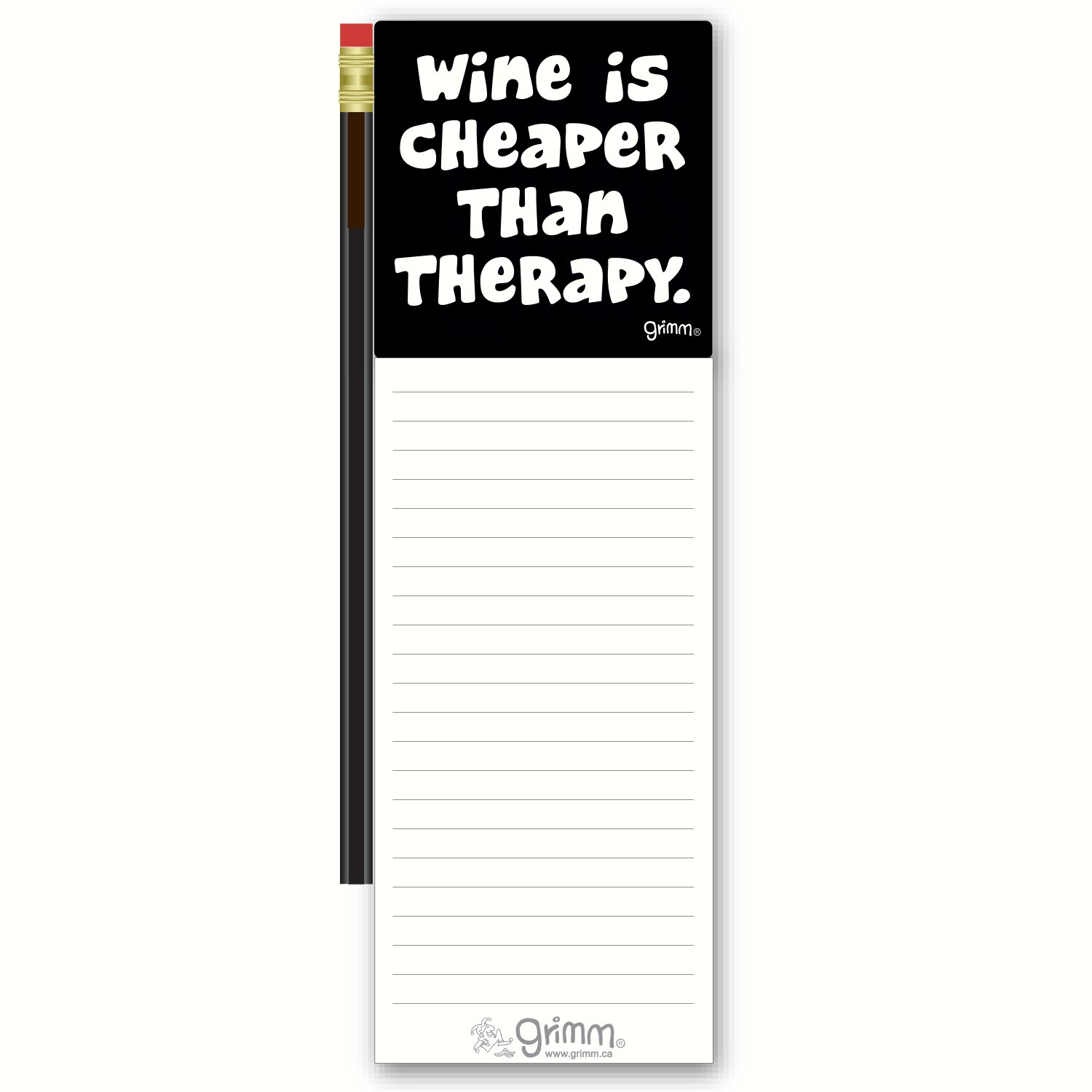 Magnetic Note Pad with Pencil: Wine is Cheaper than Therapy