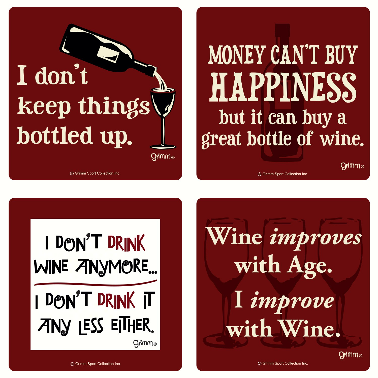 Set of 4 Wine Coasters-3.5 inches Square Coasters Boxed
