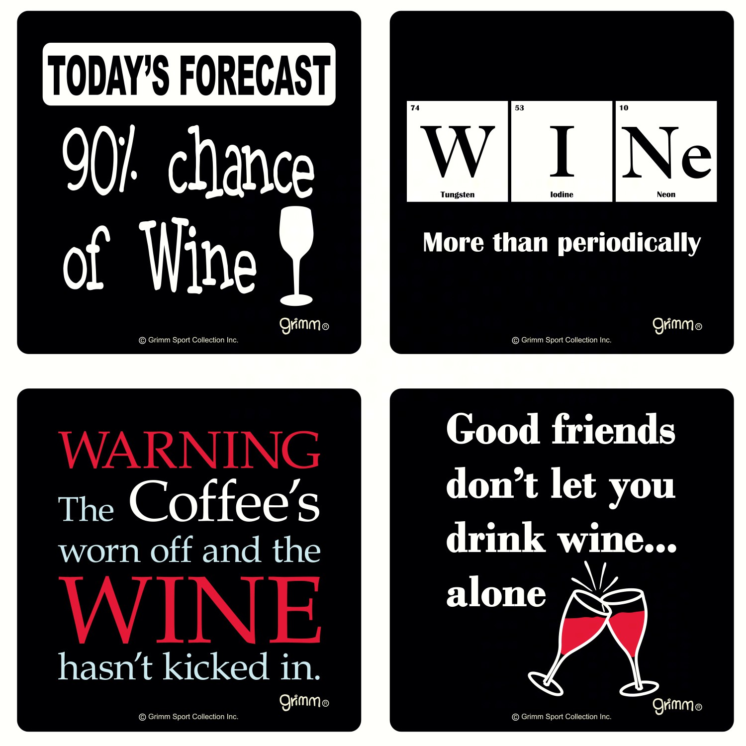 Set of 4 Wine Coasters-3.5 inches Square Boxed Coasters