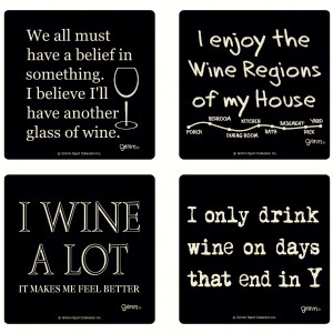 Set of 4 Wine Coasters-3.5 inches Square Boxed Caosters