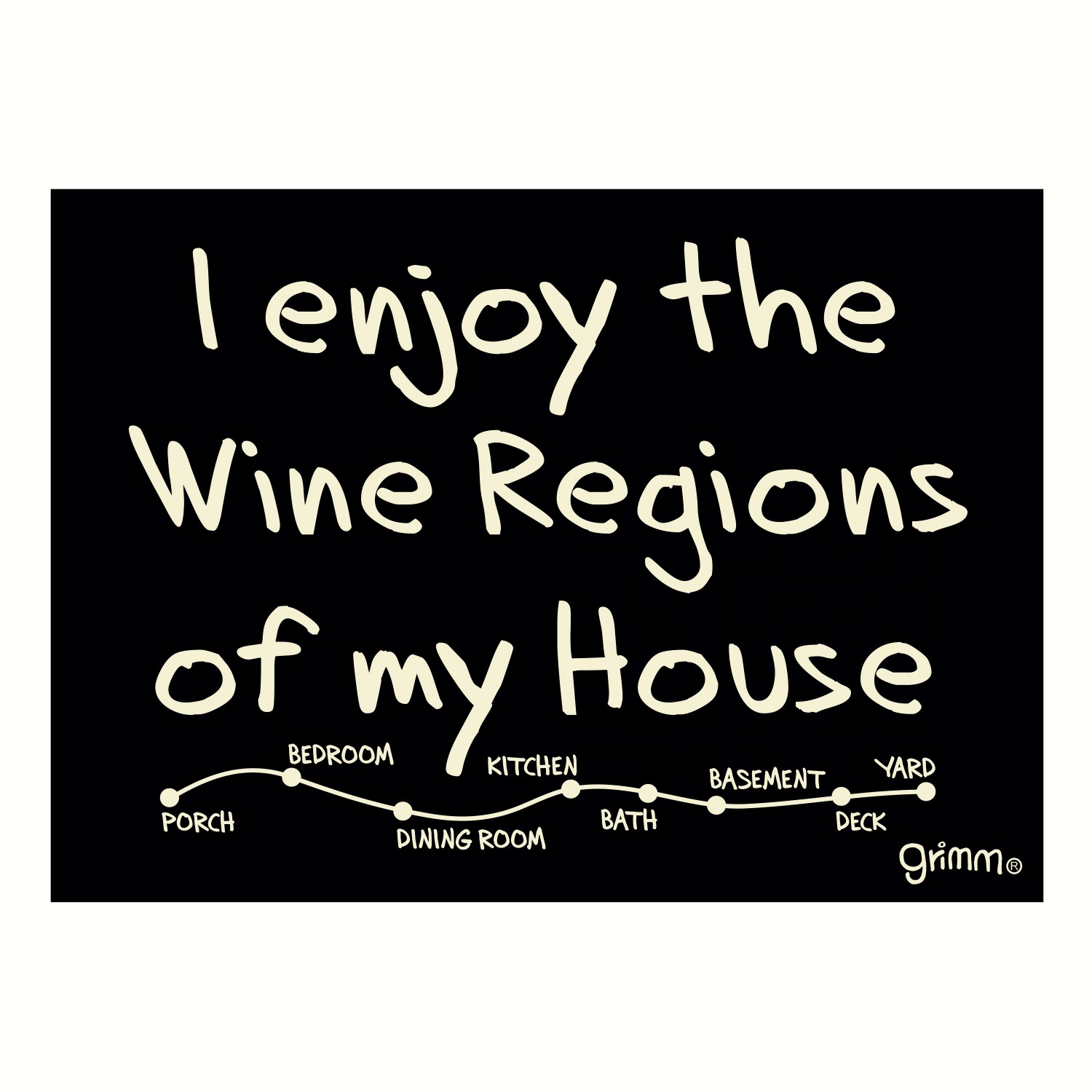 Magnet, Humorous Sayings, I enjoy the wine regions of my house