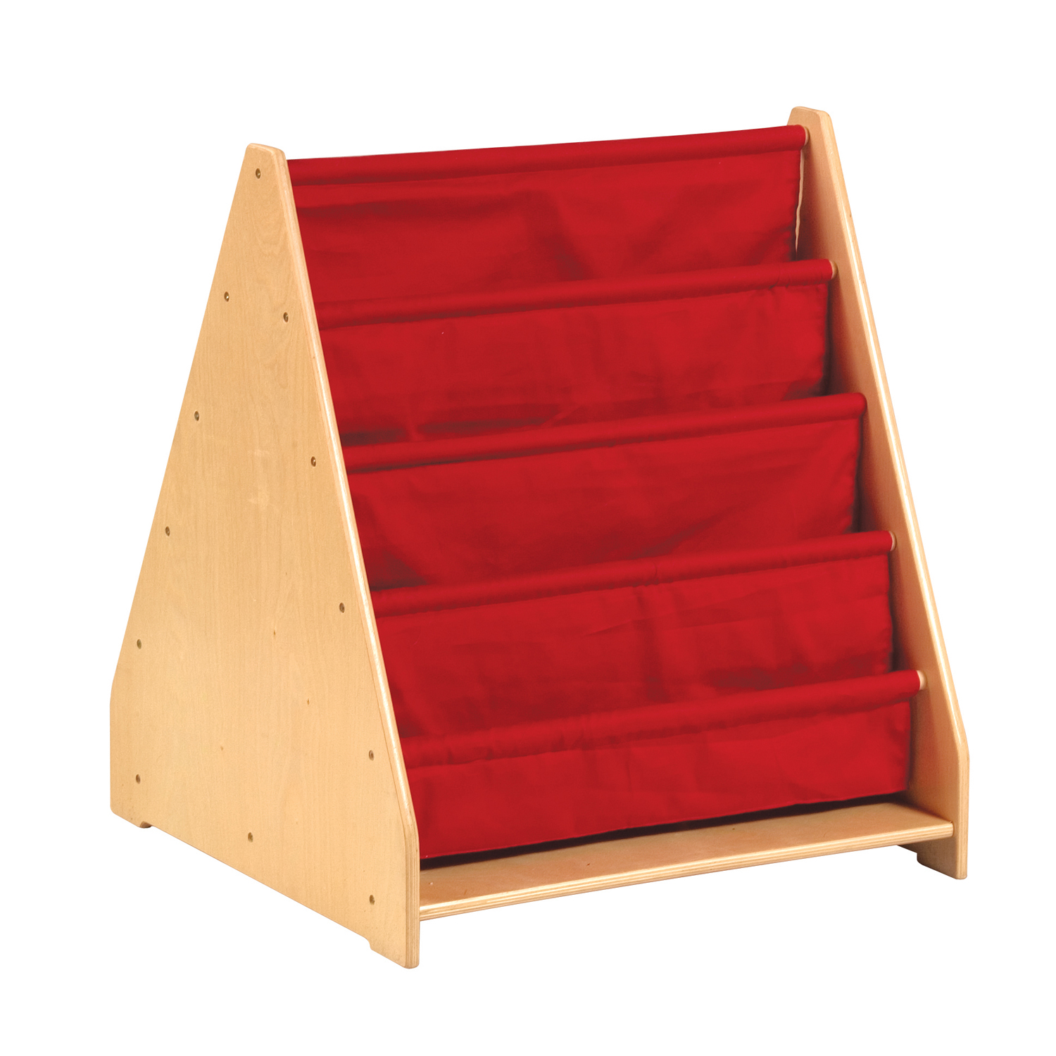 """GuideCraft 4 Shelf Cloth Book Display Holder Bookcase Wood Stand Double Sided 12""""D"""