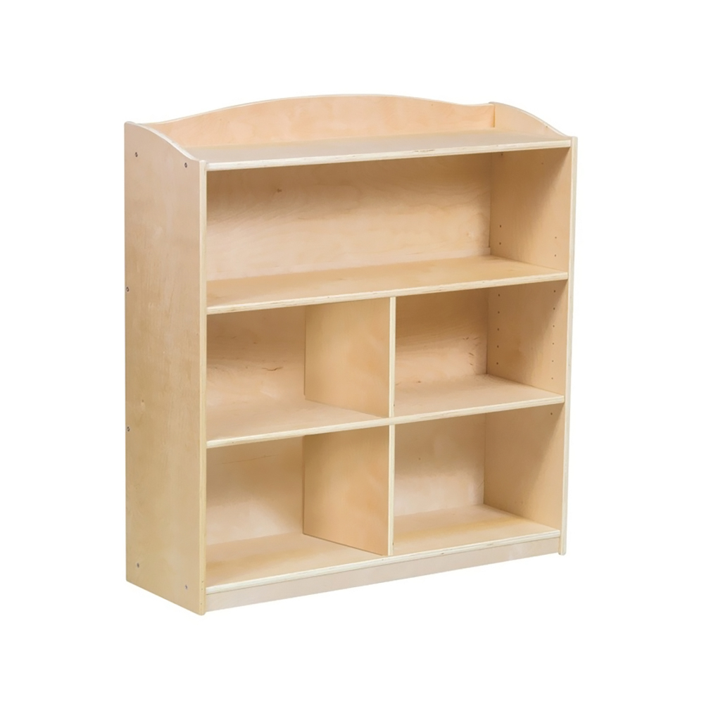 GuideCraft 3 Shelf Adjustable Multipurpose Single Sided Book Case Toy Wooden Storage Furniture