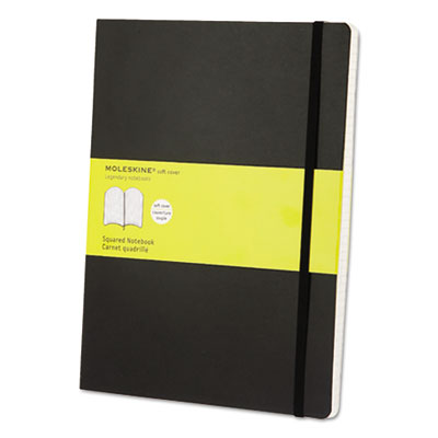 Classic Softcover Notebook, Squared, 10 x 7 1/2, Black Cover, 192 Sheets