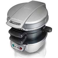 Hamilton Beach 25475 Sandwich Maker, 600 W, 110 V, 4 sq-in, Silver