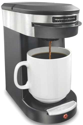 HAMILTON BEACH� SINGLE CUP HOSPITALITY COFFEEMAKER WITH 3-MINUTE BREW TIME, STAINLESS STEEL/BLACK