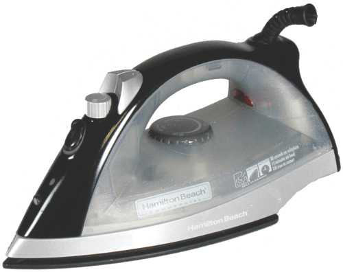 HAMILTON BEACH� NON-STICK HOSPITALITY CLOTHES IRON, BLACK, 15-MINUTE AUTO SHUT-OFF, 120 VOLTS, 1,200 WATTS