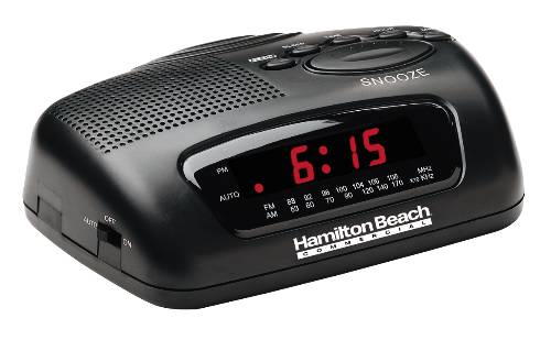 HAMILTON BEACH� AM/FM CLOCK RADIO WITH BATTERY BACKUP AND LED DISPLAY, 120 VOLTS, 5 WATTS, 60 HZ