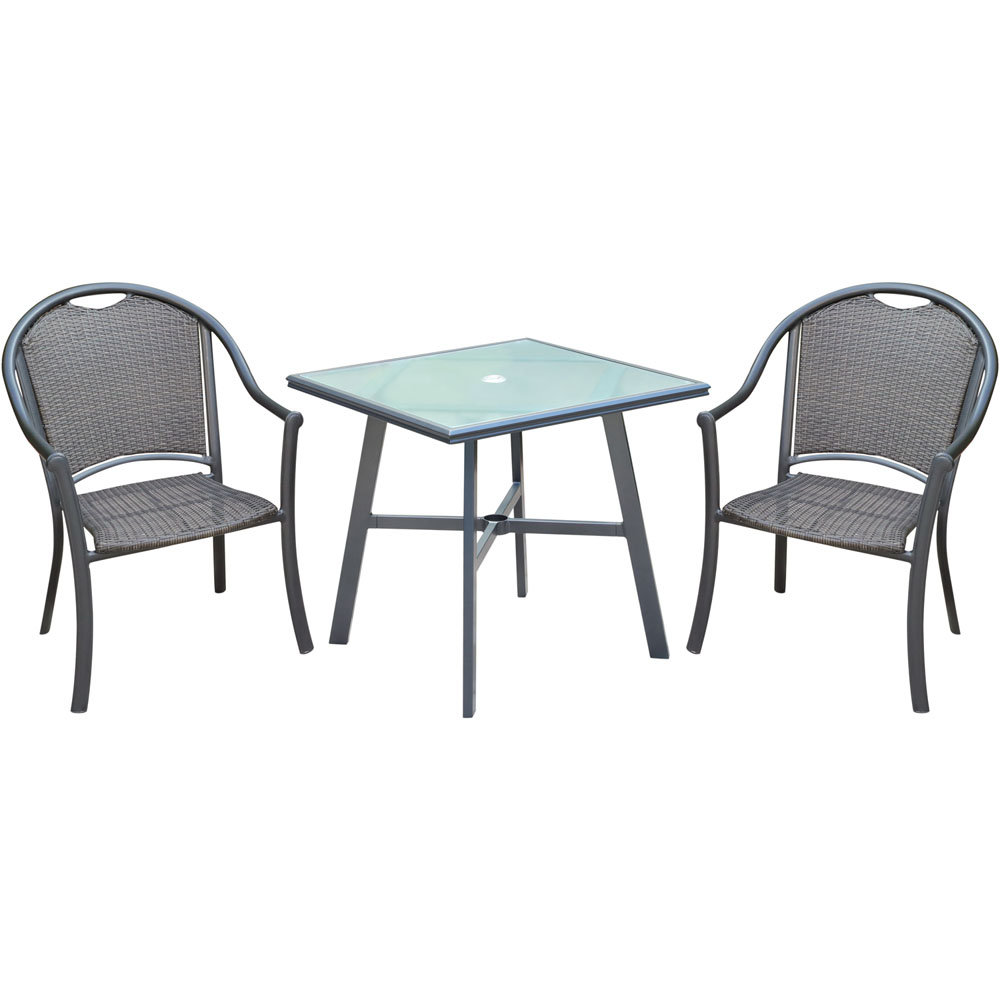 "Bambray 3pc Dining Set: 2 Woven Dining Chairs and 1 30"" Sq Glass Tbl"