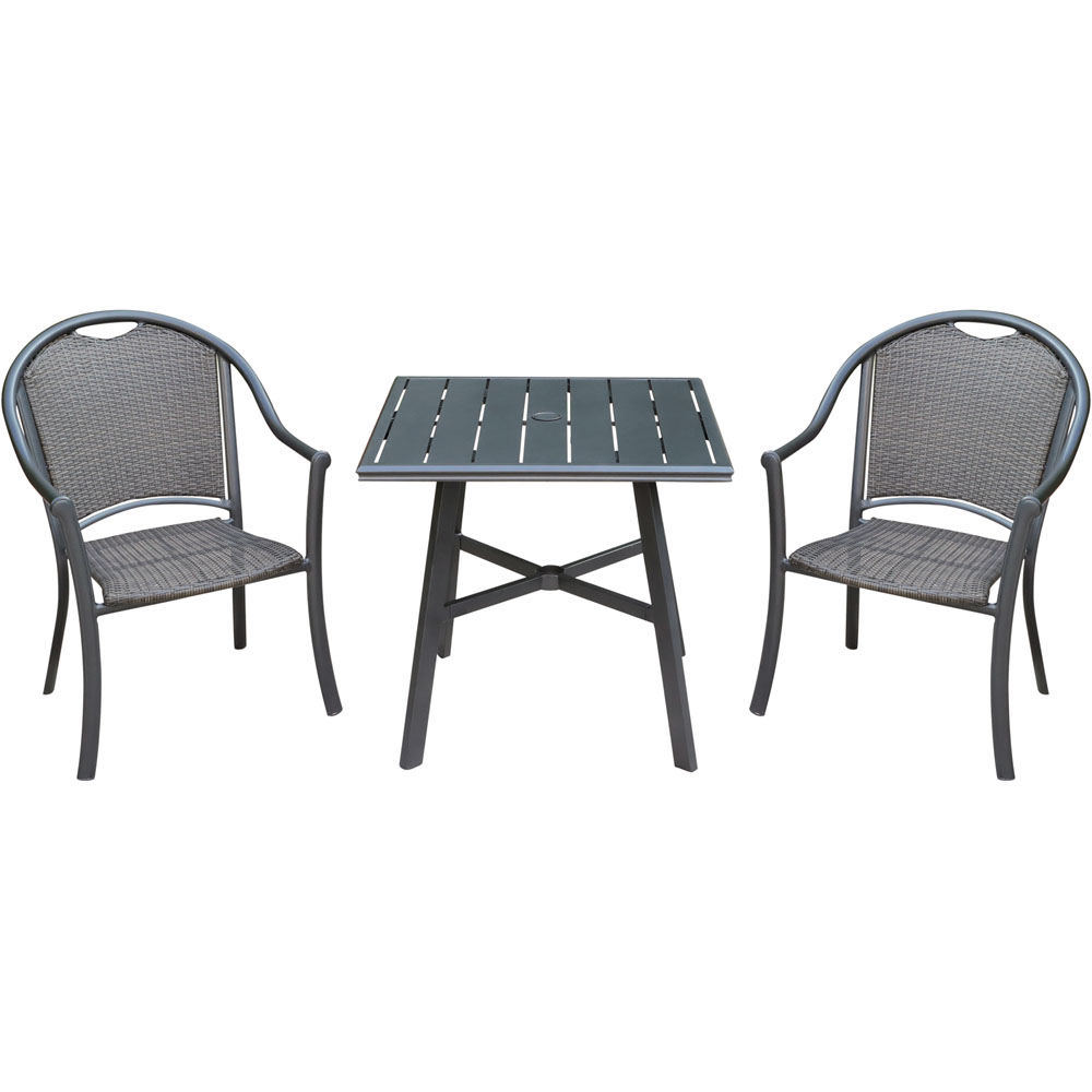 "Bambray 3pc Dining Set: 2 Woven Dining Chairs and 1 30"" Sq Slat Tbl"
