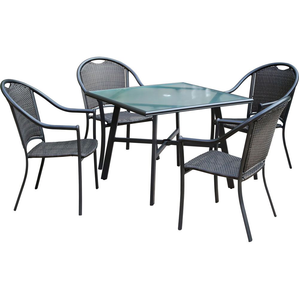 "Bambray 5pc Dining Set: 4 Woven Dining Chairs and 1 38"" Sq Glass Tbl"