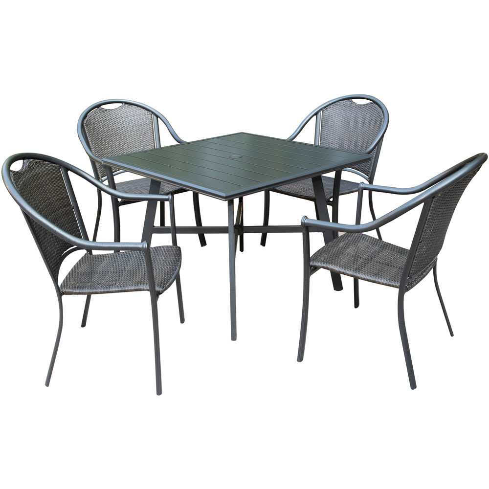 "Bambray 5pc Dining Set: 4 Woven Dining Chairs and 1 38"" Sq Slat Tbl"
