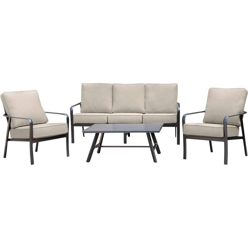 Cortino 5pc: 2 Slat Back Club Chrs, Sofa, and Slat Coffee Table