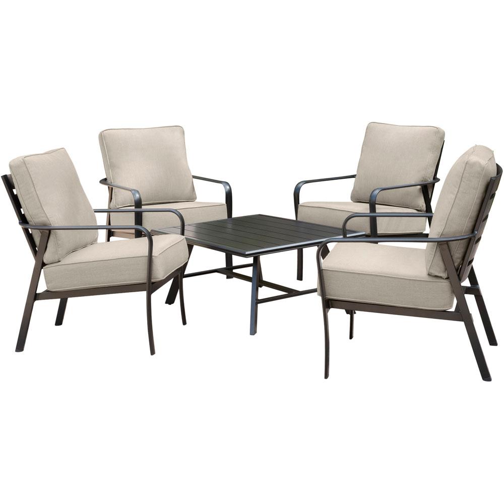 Cortino 5pc: 4 Slat Back Club Chairs and Slat Cofffee Table