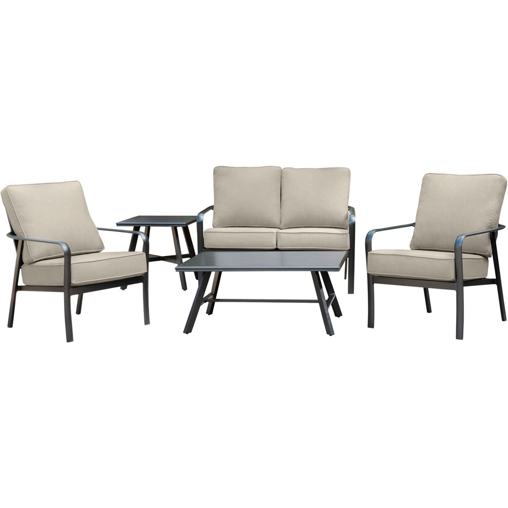 "Cortino 5pc: 2 Slat Back Club Chrs,Loveseat,Slat Coff. Tbl,22"" Side Tbl"